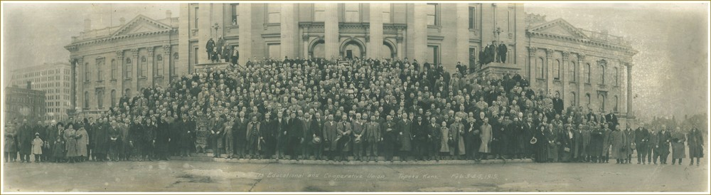 Kansas Farmers Union members on State Capital steps February 1915