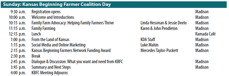 Kansas Beginning Farmers Day 2013 Schedule