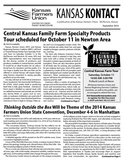 September 2014 Kansas Kontact Cover