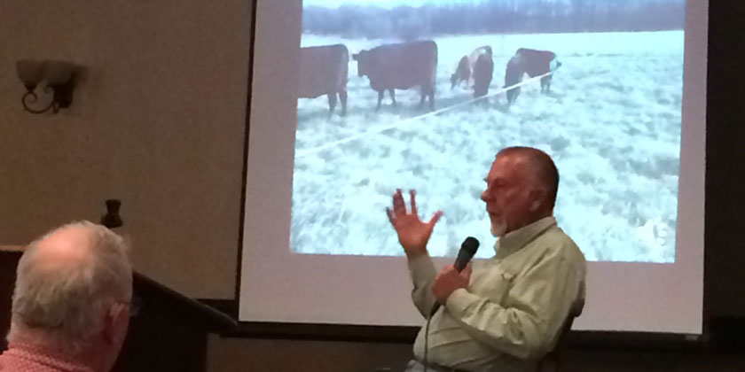 """Jim Gerrish closes his Topeka Ranch Management for Successful Winter and Year Round Grazing workshopwith a presentation on """"What is Time?"""" to make ranchers realize the value and importance of how they choose to use the time they have.'"""