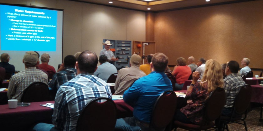 Missouri NRCS specialist Mark Green presenting during his workshop on electric fencing and livestock watering options in Topeka on September 9.