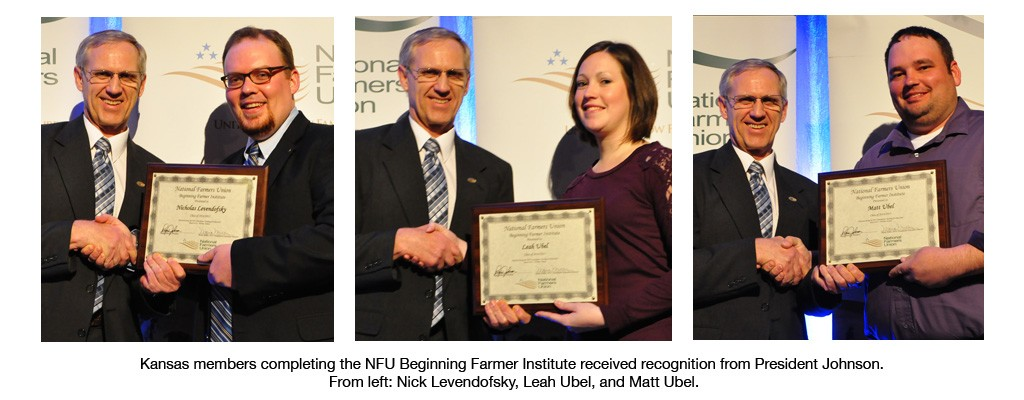 Kansas members completing the NFU Beginning Farmer Institute received recognition from President Johnson. From left: Nick Levendofsky, Leah Ubel, and Matt Ubel.