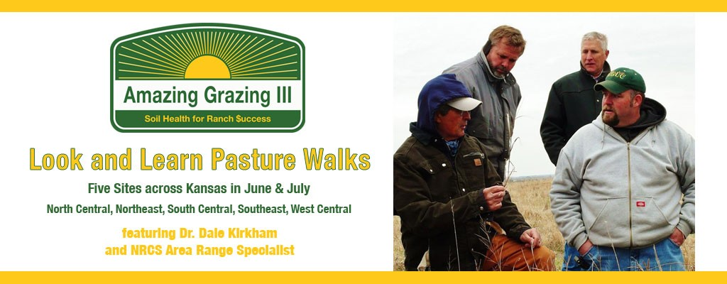 Look & Learn Pasture Walks, Five Sites across Kansas in June & July North Central, Northeast, South Central, Southeast, West Central, featuring Dr. Daile Kirkham and NRCS Area Range Specialists