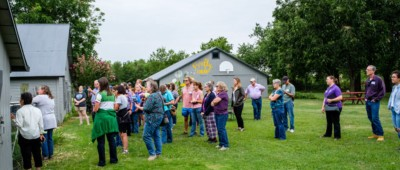 KFU's Produce Farm Twilight Tour: attendees at Firefly Farm