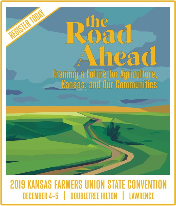 "landscape illustration of filed and a road promoting 2019 KFU State Convention ""The Road Ahead: Framing a Future for Agriculture, Kansas, and Our Communities, December 4-5, 2019 at Doubletree in Lawrence KS"