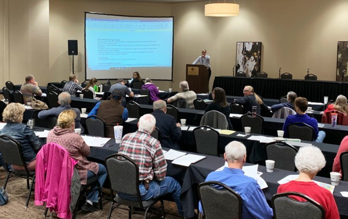 Led by Policy Chair Tom Tom Giessel, delegates reviewed past policy and debated new issues including trade agreements and tariffs, industrial hemp, climate change, crop insurance and disaster programs, and the reestablishment of the Grain Inspection Packers and Stockyards Administration (GIPSA).