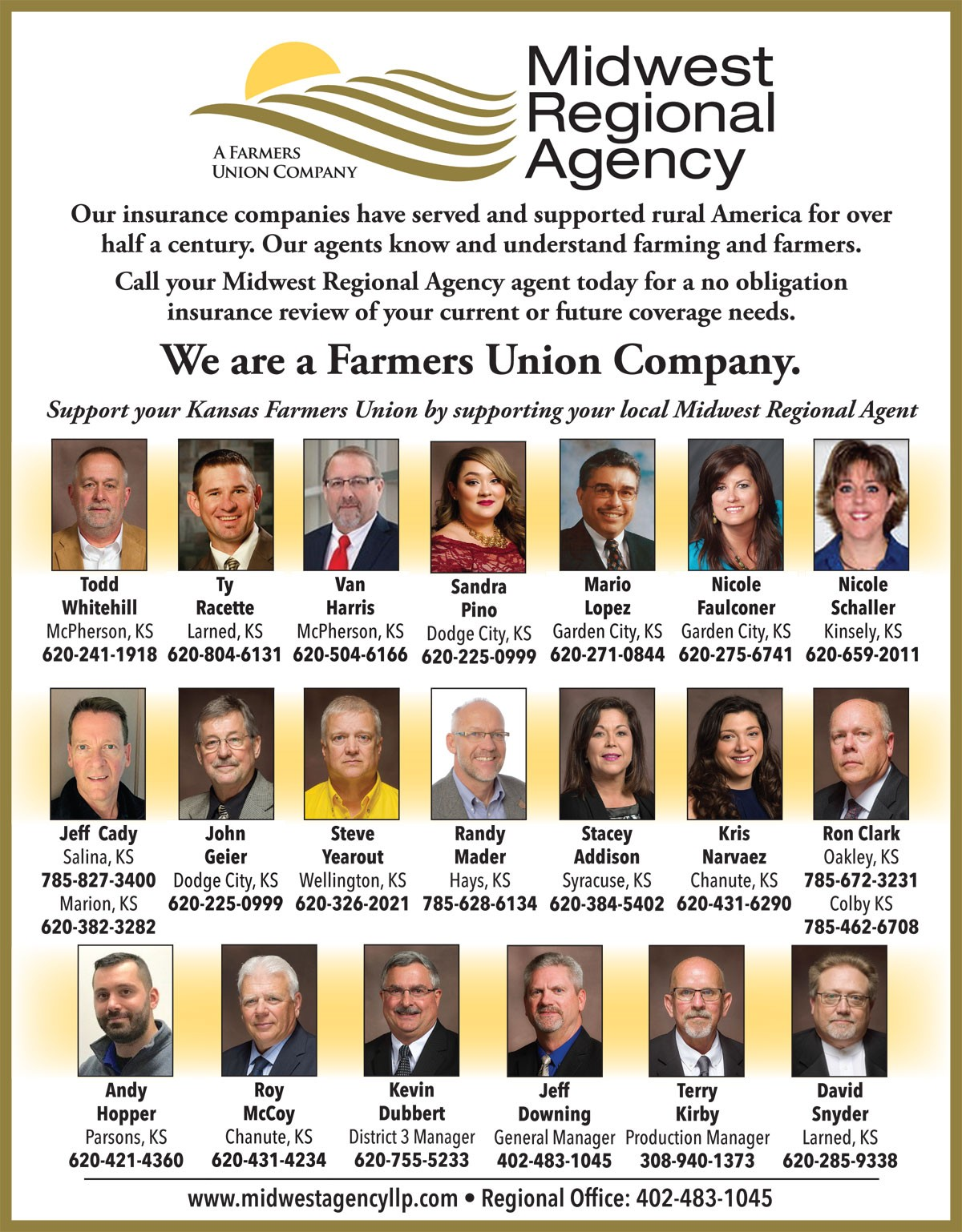 MIDWEST REGIONAL AGENCY AGENTS PAGE 1