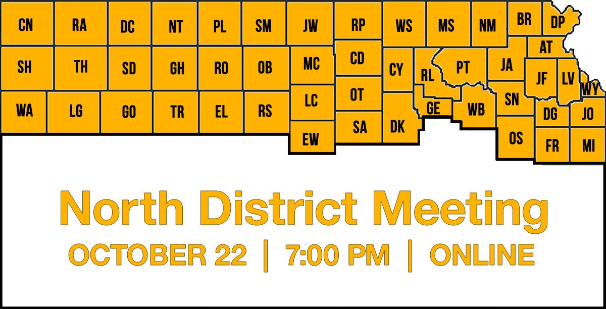 Image of Kansas Farmers Union North District Map and Meeting Information