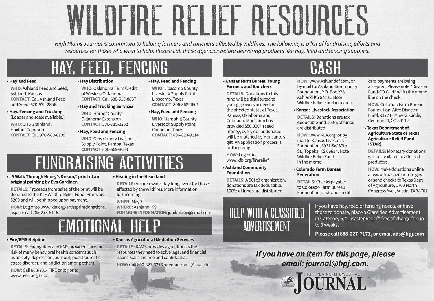 Wildfire Relief Resources from the High Plains Journal