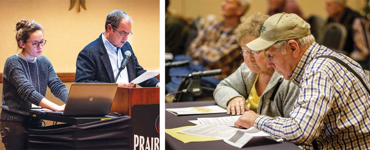 Tom Giessel reads policy recommendations and Olivia Taylor-Puckett updates the document. Gladys and John Rempe of Nemaha County review proposed 2019 policy changes.