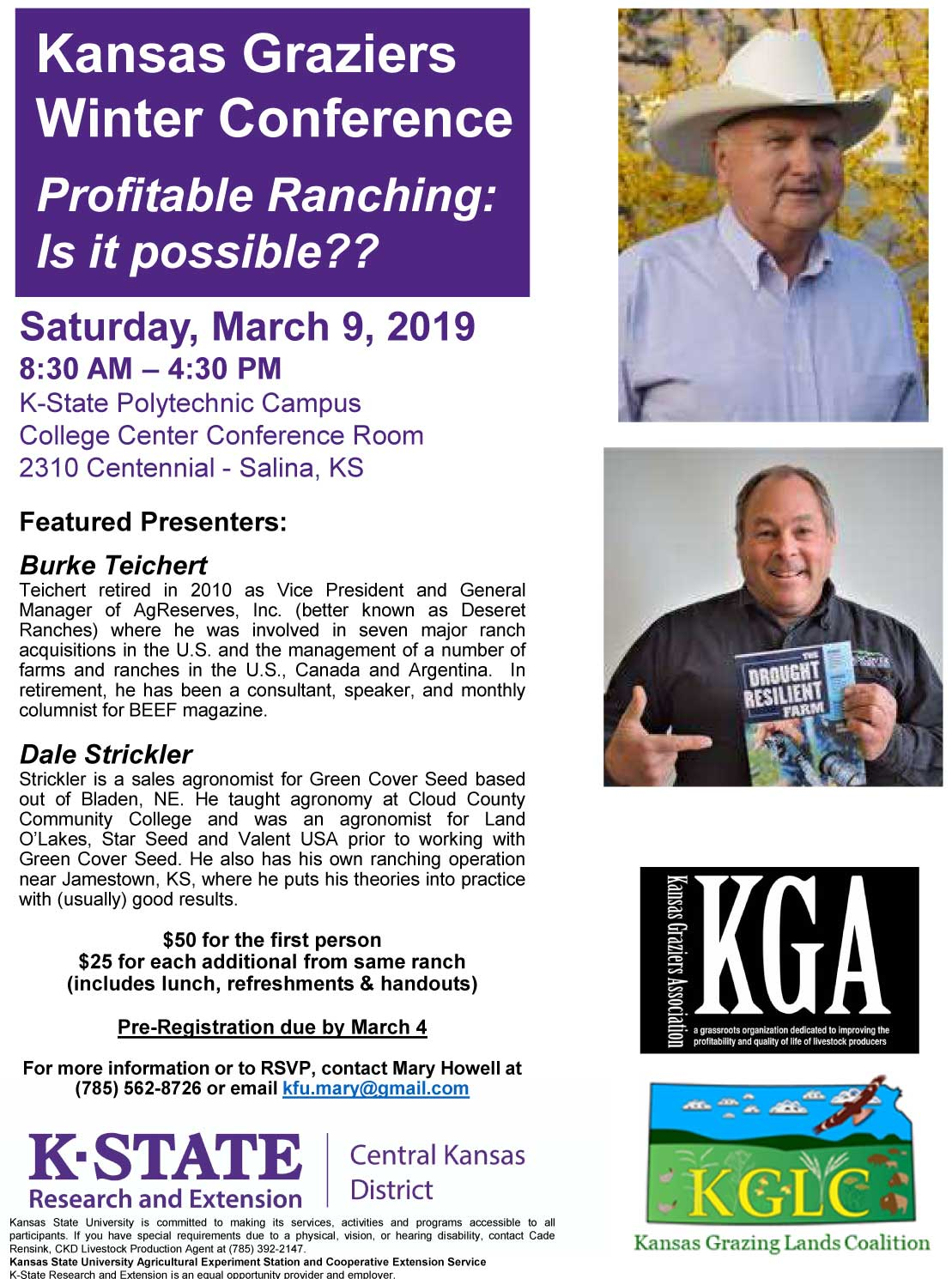 """Profitable Ranching: Is It Possible? The Answer is Yes!"" Kansas Winter Graziers Conference to be Held March 9th in Salina."