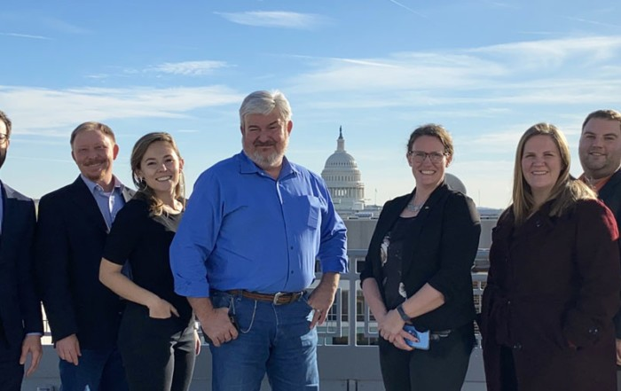 2020 NFU Policy Committee members and NFU staff are pictured on the rooftop of the NFU building.