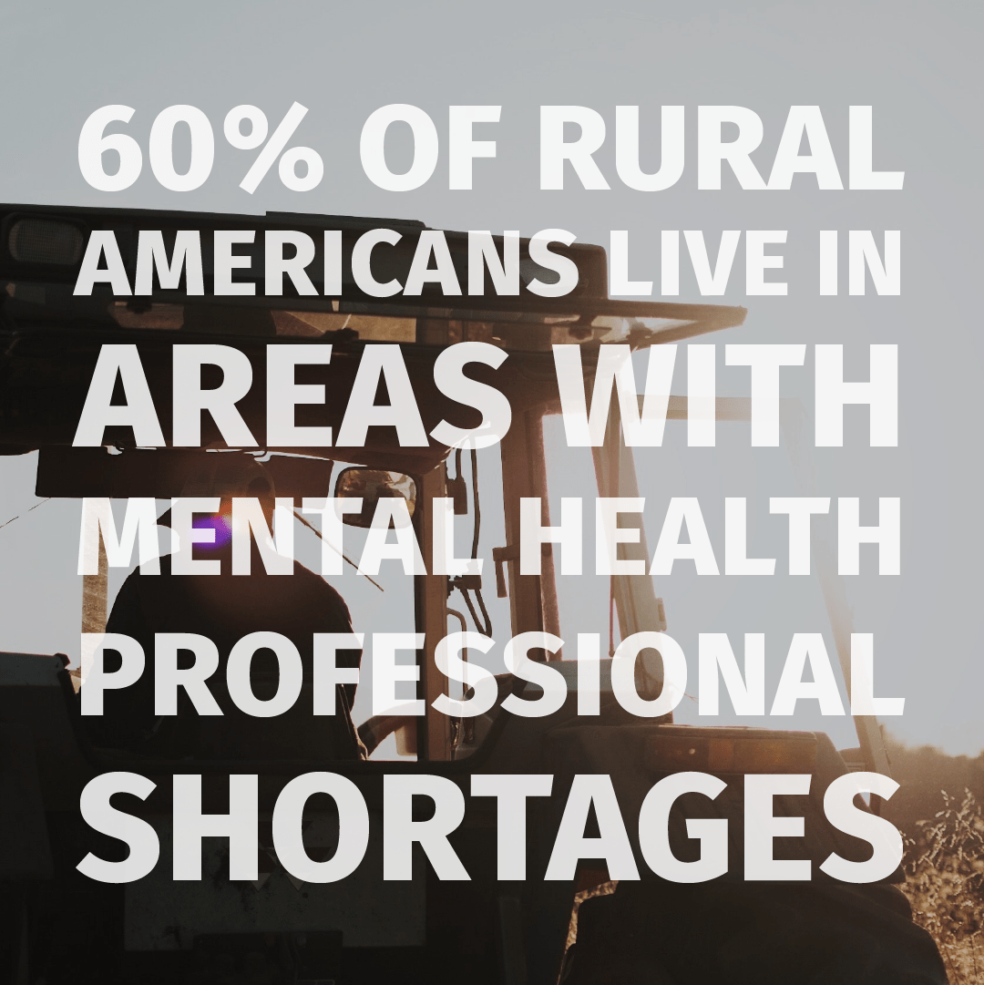 60 percent of rural Americans live in areas with mental health professional shortages